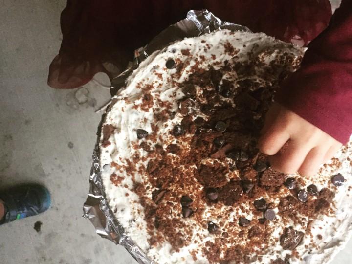 Witte chocolade kruidnoot-cheesecake